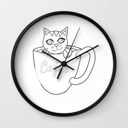 Coffee Cat Outline Wall Clock