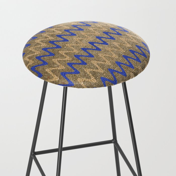 Blue and Tan Zigzag Stripes on Grungy Brown Burlap Graphic Design Bar Stool