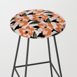 Bold orange poppy on a soft pink base Bar Stool