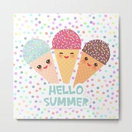 Hello Summer Kawaii Ice cream waffle cone Metal Print