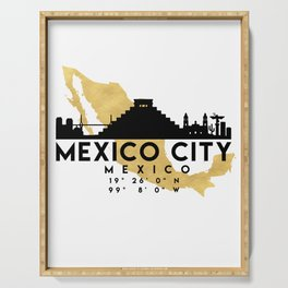 MEXICO CITY MEXICO SILHOUETTE SKYLINE MAP ART Serving Tray