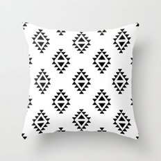 Linocut southwest minimal pattern black and white print scandinavian minimalism Throw Pillow