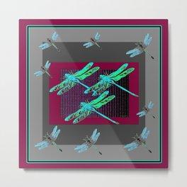 Burgundy-Grey Blue Dragonflies Art Metal Print