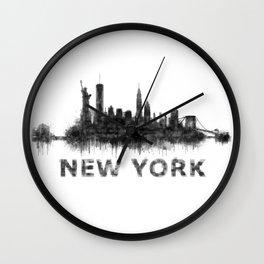 NY New York City Skyline NYC Black-White Watercolor art Wall Clock