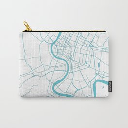 Bangkok Thailand Minimal Street Map - Turquoise and White II Carry-All Pouch