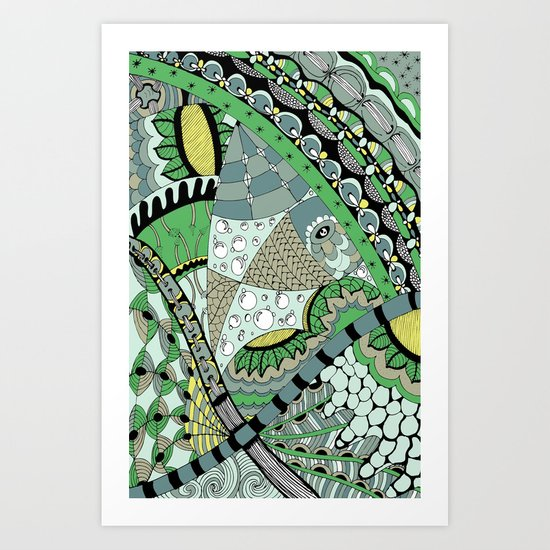 The fish who dreamed of sunflowers and buttons Art Print