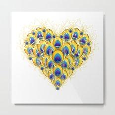 Peacock Heart Metal Print