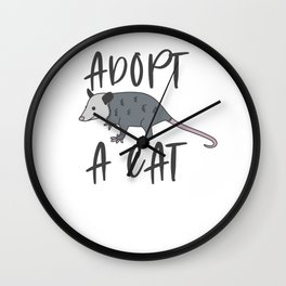 Possum Adopt A Cat Ugly Opossum Lovers Vintage Gift Wall Clock
