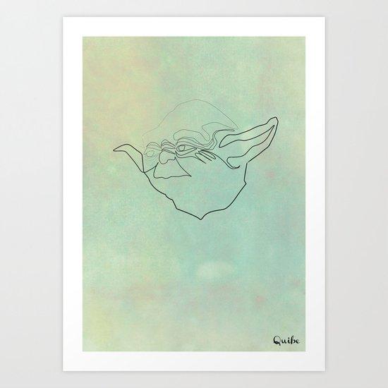 One Line Yoda Art Print