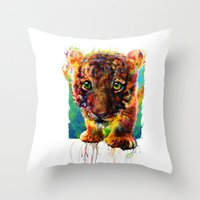 tiger Throw Pillows featuring tiger by ururuty