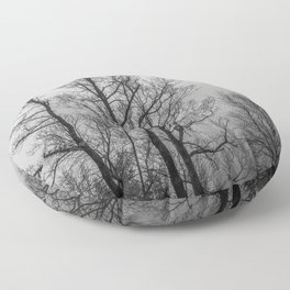 Black and white naked trees Floor Pillow
