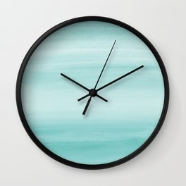Touching Aqua Blue Watercolor Abstract #2 #painting #decor #art #society6 Wall Clock