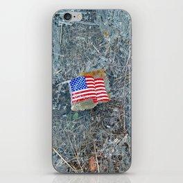 American Flag on Broken Glass iPhone Skin
