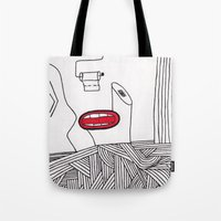 toilet Tote Bags featuring toilet by DAMlab