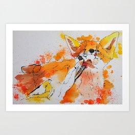 Red fox and fox cub Art Print