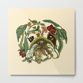 Botanical English Bulldog Metal Print