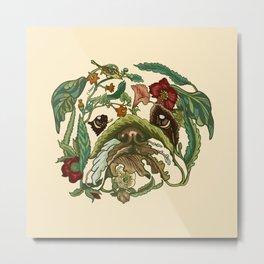Botanical English Bulldog Metal Print