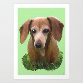 Molly Dolly Dachshund - Green Art Print