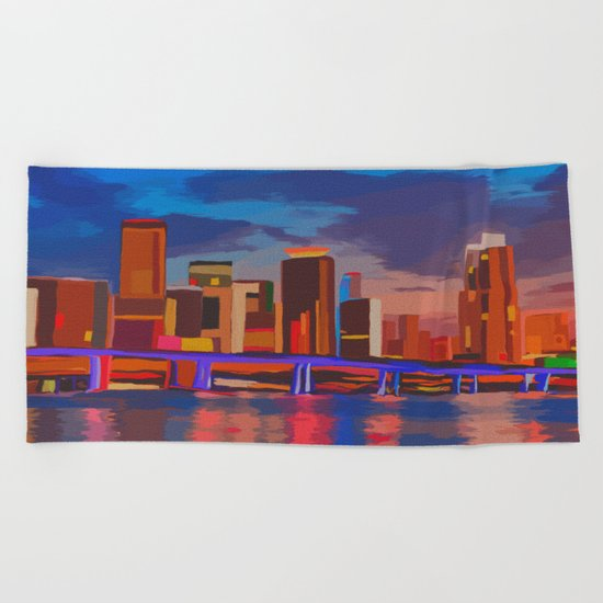 Miami Evening Beach Towel