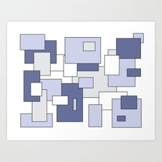 Squares -  gray, blue and white. Art Print