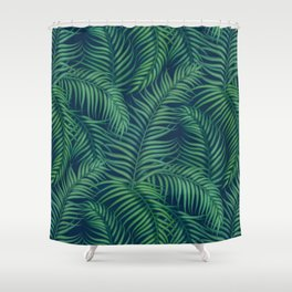Night tropical palm leaves Shower Curtain