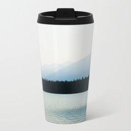 Misty Mountains - Lake Annette in Jasper, Canada Travel Mug