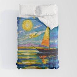 Sailboat at sunset Comforters