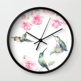 Paradise - watercolor hummingbirds and fuschia Wall Clock