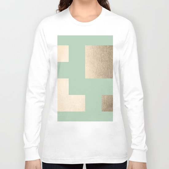 Simply Geometric White Gold Sands on Pastel Cactus Green Long Sleeve T-shirt