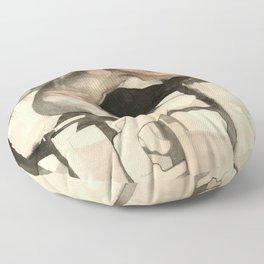 The Pondering Man' Male Figure Drawing in Classic Realism Floor Pillow