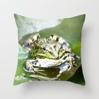 frog Throw Pillows featuring frog by Karl-Heinz Lüpke