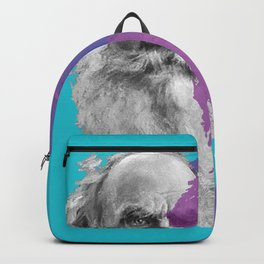 Leo Tolstoy portrait blue and purple Backpack