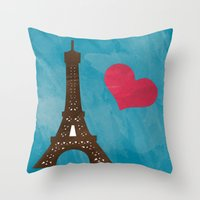 eiffel Throw Pillows featuring Eiffel by Daniela Marti