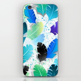 Seamless Pattern with Blue Feathers iPhone Skin