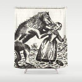 Werewolf attack Medieval etching Shower Curtain