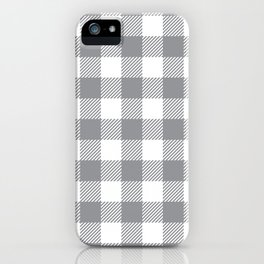 Buffalo Plaid - Grey & White iPhone Case