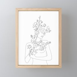 Minimal Line Art Woman with Wild Roses Framed Mini Art Print