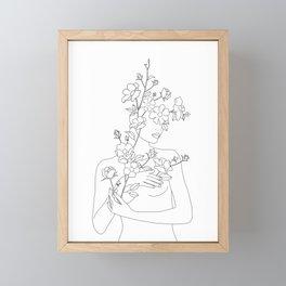 Minimal Line Art Woman with Wild Roses Framed Mini Art Print