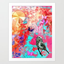 THE NIGHTINGALE SINGS TO THE MOON Art Print