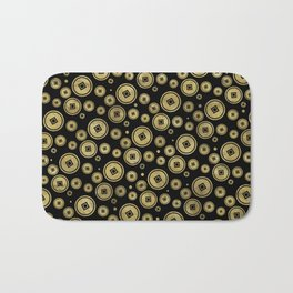 Chinese Coin Pattern Gold on Black Bath Mat
