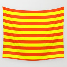 Super Bright Neon Orange and Yellow Horizontal Beach Hut Stripes Wall Tapestry