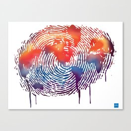 global map finger print Canvas Print