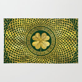 Irish Four-leaf clover with Celtic Knot Rug