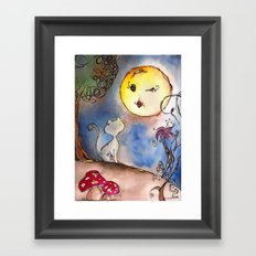 Love Cat and Moon Framed Art Print