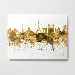 Paris skyline in orange watercolor on white background Metal Print