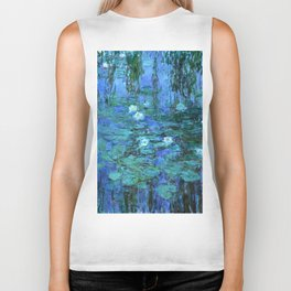 Claude Monet Water Lilies BLUE Biker Tank
