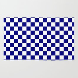Navy Blue and White Large Check Rug