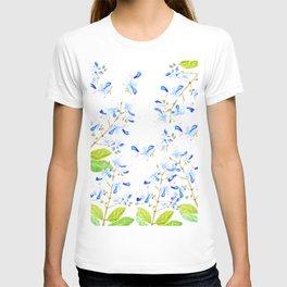 blue butterfly flowers arrangement watercolor T-shirt