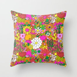 60's Groovy Garden in Neon Peach Coral Throw Pillow