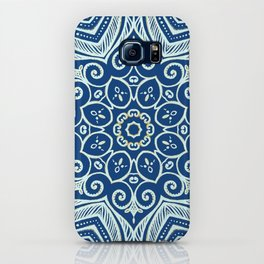 Blue and Gold  flowers pattern iPhone Case